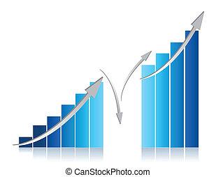 blue business graph illustration