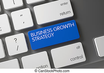 Blue Business Growth Strategy Button on Keyboard. 3D.