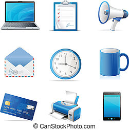 Blue business icons set. Vector
