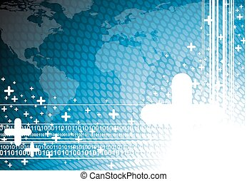 Blue business illustration with world map background.