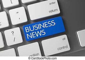 Blue Business News Key on Keyboard. 3D.