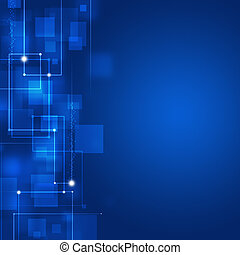 Blue Business Square Shapes Background - abstract technology...