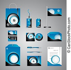 Blue business stationery template
