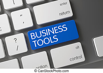 Blue Business Tools Button on Keyboard. 3D Illustration.