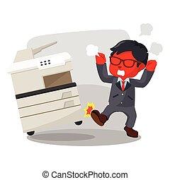 blue businessman angry kicking photocopy machine