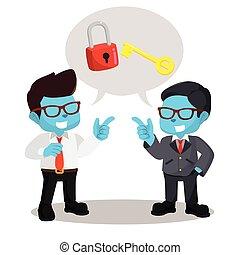 blue businessman chatting unlocking lock