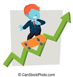 blue businessman climb skateboard with graphics