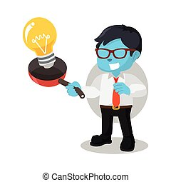 blue businessman cooking bulb
