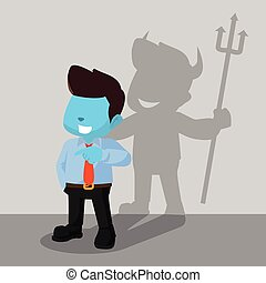 blue businessman devil shadow