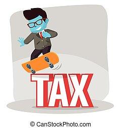 blue businessman dodge tax with skateboard