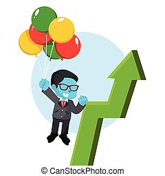blue businessman flying with balloon and arrow