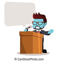 blue businessman giving speech with blank callout