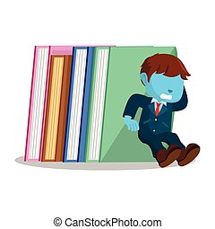 blue businessman holding stack of books