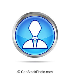 blue businessman icon isolated on white