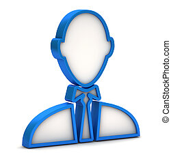 blue businessman icon on a white background