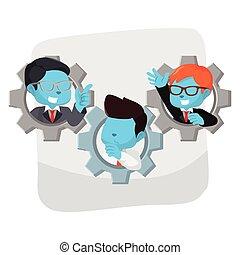 blue businessman in a gear