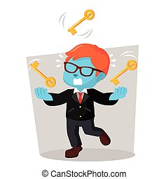 blue businessman juggling keys
