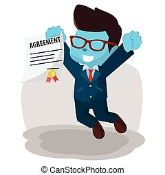 blue businessman jump with holding agreement