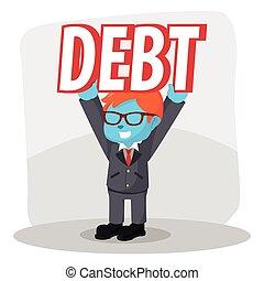 blue businessman lifting debt easily