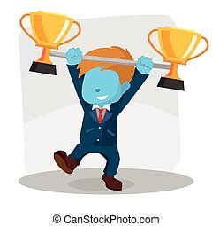 blue businessman lifting trophy