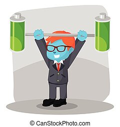 blue businessman lifting two full batteries