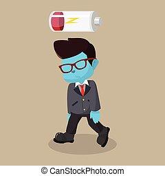 blue businessman low energy