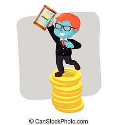 blue businessman on coin holding hourglass