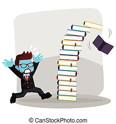 blue businessman panicked because falling book