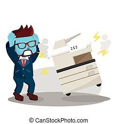 blue businessman panicked because photocopy machine has broken