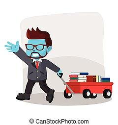 blue businessman pulling a cart full of books