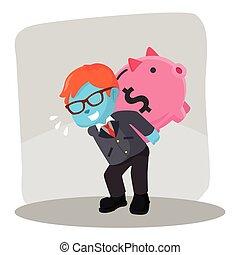blue businessman riding piggy bank chasing coin