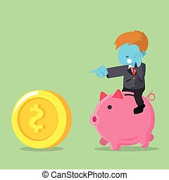 blue businessman riding piggybank chasing coin
