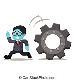 Blue businessman running from giant gear