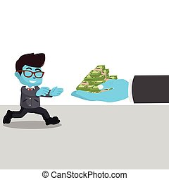Blue businessman running into money