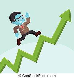 blue businessman running up graphic