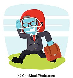 blue businessman running with football helmet