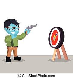 blue businessman shooting target