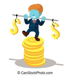 blue businessman stabilizing on stack of coin