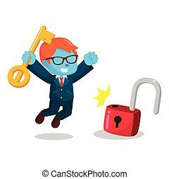 blue businessman successfully unlocking lockpad