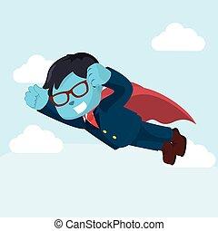 blue businessman superhero flying