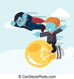 blue businessman superhero race with businessman on bulb