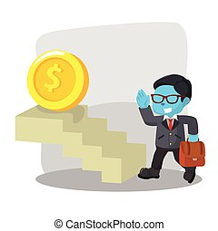 blue businessman taking stair to coin