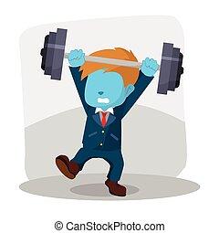 blue businessman unbalanced barbell