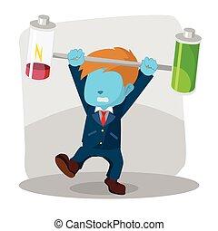 blue businessman unbalanced battery