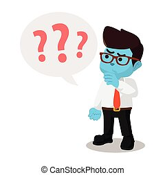 blue businessman with question marks