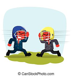 Blue businessman with rugby helmet charging to each other