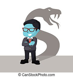 blue businessman with shadow snake