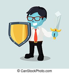 blue businessman with sword and shield