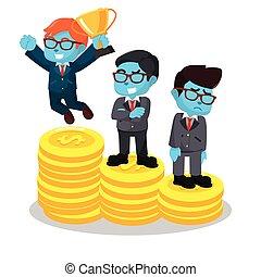Blue businessmen winner and loser