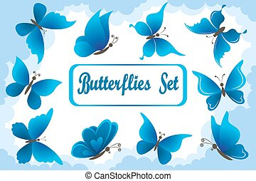 Blue Butterflies in Sky with Clouds